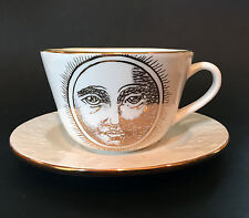 Laurie Gates Los Angeles CA Art Pottery Oversized Cup & Saucer~Gold Sun Face Mug