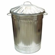90l Liter Galvanised Metal Bin Home Garden Rubbish Waste Dustbin Animal Storage