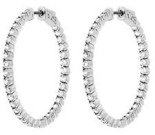 Hoop Earring 62 x .07 ct, 1.25 inch 4.33 carat Round cut Diamond 14k White Gold