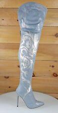 Mac J Oriental Laser Dragon Hologram Denim High Heel Thigh Boot Us Size 5.5-10