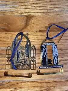 USED 2011 & 2013 ANNUAL COLLECTIBLE NOTRE DAME CHRISTMAS ORNAMENT FATHER CORBY