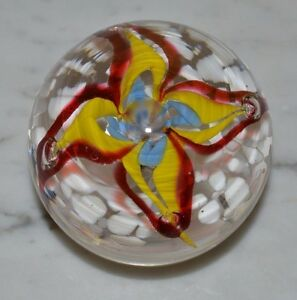 Vintage Red Blue Yellow Gentian Flower Controlled Bubble Art Glass Paperweight