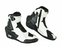 WHITE & BLACK HIGH TECH MOTORBIKE MOTORCYCLE RACING BOOTS SPORTS LEATHER SHOES