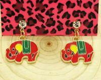 Hot Betsey Johnson Red Enamel Cute Elephant Animal Crystal Women Stand Earrings