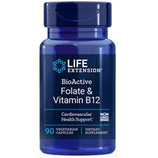 Life Extension BioActive Folate 400mcg & Vitamin B12 300mcg 90Caps methyl-folate