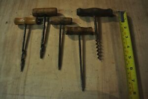 5 Vintage Awls with wooden handles