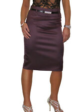 Womens Stretch Matte Satin Skirt Diamante Belt Bordeaux Plum Evening 8-22