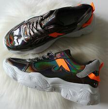 Plataforma con cordones para mujer Plano Holográfico Plano Suela Gruesa Zapatillas Zapatos De Salón 3-8