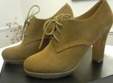 "Women's Shoe Talbots career solid tan suede Size 8.5 M US 4"" heel lace up EUC"