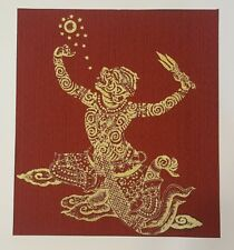 Thai Art Silk Hanuman Yawn Figures Painting Ramayana Poster Asian Home Decor
