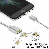 Magnetic Type-c Micro USB Fast Charging Data Cable For IOS / Android 2 in 1 AU