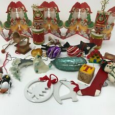 Christmas Ornament Lot Vintage Paper Glass Wooden Elves Toy Soldiers 20 Pieces