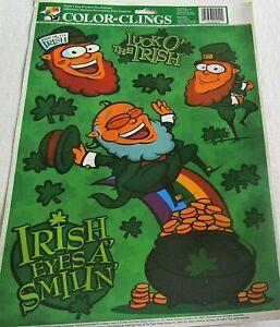 ST PATRICK'S DAY Window Clings  LEPRECHAUNS /IRISH EYES A' SMILIN'/LUCK O' IRISH