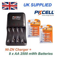Ni-ZN 8 x 1.6V AA 2500 mwh High performance, Recharable Batteries & Charger Pack