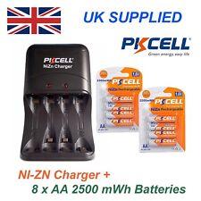 Ni-ZN 8 X 1.6V AA 2500 mwh Alto Rendimiento, recharable Baterías Y Cargador Pack
