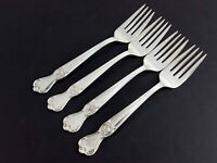 "Old Company Plate SIGNATURE 4 Salad Forks 6-3/4"" Silverplate 1950 Mono V"