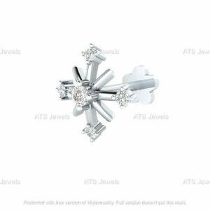 Real Diamond Flower Nose Lip Labret Screw Piercing Pin Stud Ring 14k White Gold