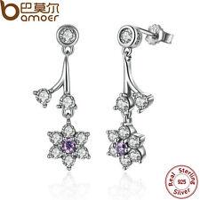 Bamoer S925 Sterling Silver Earrings eardrop Flower with CZ For women Jewelry