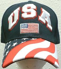 OLYMPIC UNITED STATES OF AMERICA USA U.S. FLAG AMERICAN BLUE 100% COTTON CAP HAT
