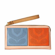 Orla Kiely Womens Punched Pocket Leather Big Zip Wallet Purse Clutch Wrist Bag