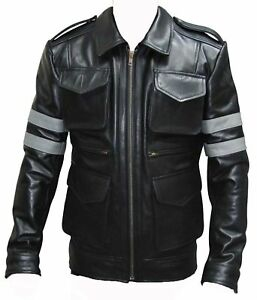 Resident Evil 6 Game Black Genuine Cow Hide Leather Jacket