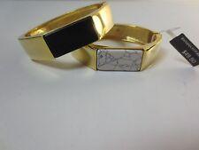 Banana Republic Gold Octagon Black & White Bar Hinge Cuff Bracelet NIP $48