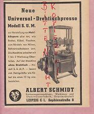 Leipzig, advertising 1941, Albert Schmidt Cardboard gnawing-Machine Rotary Table-Press