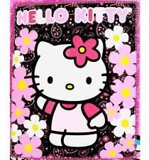 "Hello Kitty Fleece Blanket 50 x 60"" Plush Throw Blanket Offical Sanrio Paisly Bk"