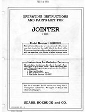 "1955 Craftsman 103.23900  6"" Jointer-Operating Instructions & Parts List"