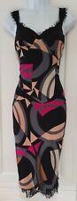 Womens Diane Von Furstenberg Black Multi Silk Lace Panels Evening Strappy Dress8