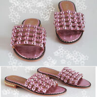 Womens Studded Flats Slider Cage Ladies Summer Holiday Slip On Sandals Shoes 3-8