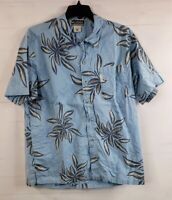 Columbia XCO Men's SS Button Down Hawaiian Blue Camp Shirt  XL Cotton Floral