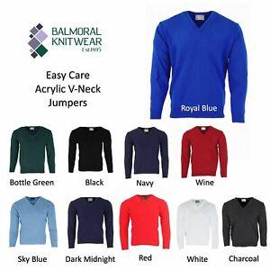 Balmoral Mens Acrylic V Neck Jumper Knitwear Sweater Long Sleeve Pullover Knit