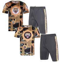 Mens Polyester T Shirt + Shorts Zip TIGER PRINT Tracksuit Summer Comfortable Set