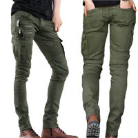 Mens Biker Jeans Zippers Stretch Skinny Denim Trousers Slim Fit Pants Casual