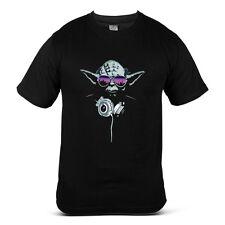 6342-BK Star Wars Grand Master Yoda with Headphones Colour Black Mens T-shirt