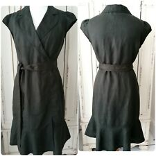 COAST dress Size 14 Khaki green Linen frill wrap work office summer VGC