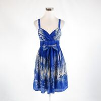 Dark blue beige abstract 100% silk ANTHROPOLOGIE LIL sleeveless A-line dress 2