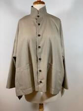 ESKANDAR Tropical Wool Cashmere Blend Button 3Q Pockets Shirt Jacket Size 0