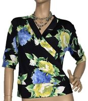 SKETA LABEL WOMENS SIZE L FLORAL FIX WRAP TOP