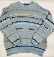 Vintage 90s Men's Large 3D Cotton Sweater Pft Guy Bill Cosby Blue Crewneck