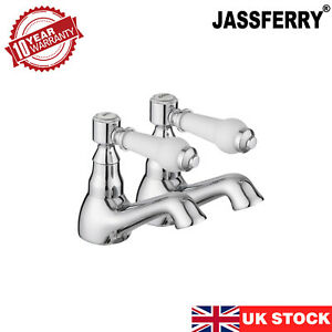 JASSFERRY Pair of Basin Taps Hot and Cold Water Bathroom 1/4 Turn Ceramic Handle