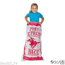 6 Western Cowboy Cowgirl Farm Party PONY EXPRESS POTATO SACK Bag RACE GAME