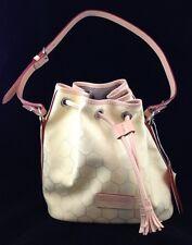 NEW DOONEY & BOURKE MEDIUM DRAWSTRING Leather Trim Handbag Purse Bag $265 NWT