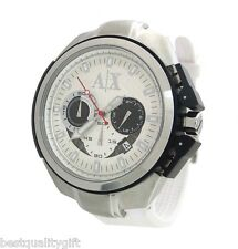 NEW A|X ARMANI EXCHANGE WHITE RUBBER BAND CHRONOGRAPH WATCH-AX1068
