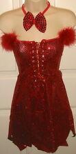 SS4U Red Sequined Strapless Dress Horns Devil Costume Set SM