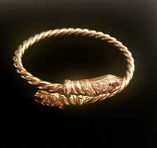 18 K GOLD~ DOUBLED~DIAMOND HEADED SNAKE~COIL FLEX BRACELET w. RUBY EYES