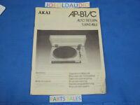 AKAI AP-B1/C Turntable Original Operator's manual. Overall Good Condition.