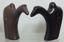 More details for a pair  of rare handmade abstract soapstone sculptures statues