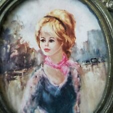 """Lady Pink Scarfe 60s Painting Print on Brass Oval Pewster Floral Frame 3 x 3.5"""""""
